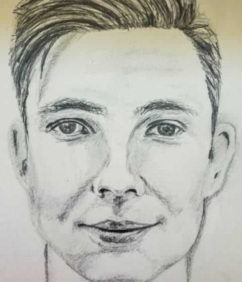 Ein Gesicht mit Bleistift gezeichnet